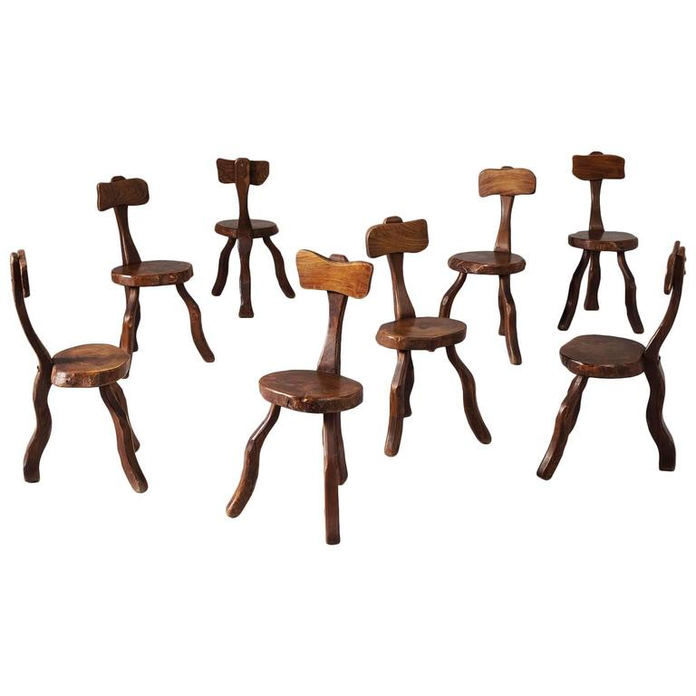 Set of Eight Root Chairs in Solid Elm