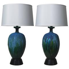 Pair of Lapis Blue and Emerald Green Crackled Lava Glaze Lamps