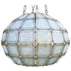 Large 1950's Italian Art Glass Faceted Globe Chandelier