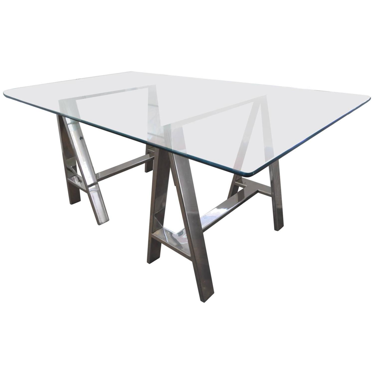 Steel And Glass Trestle Table For Sale At 1stdibs