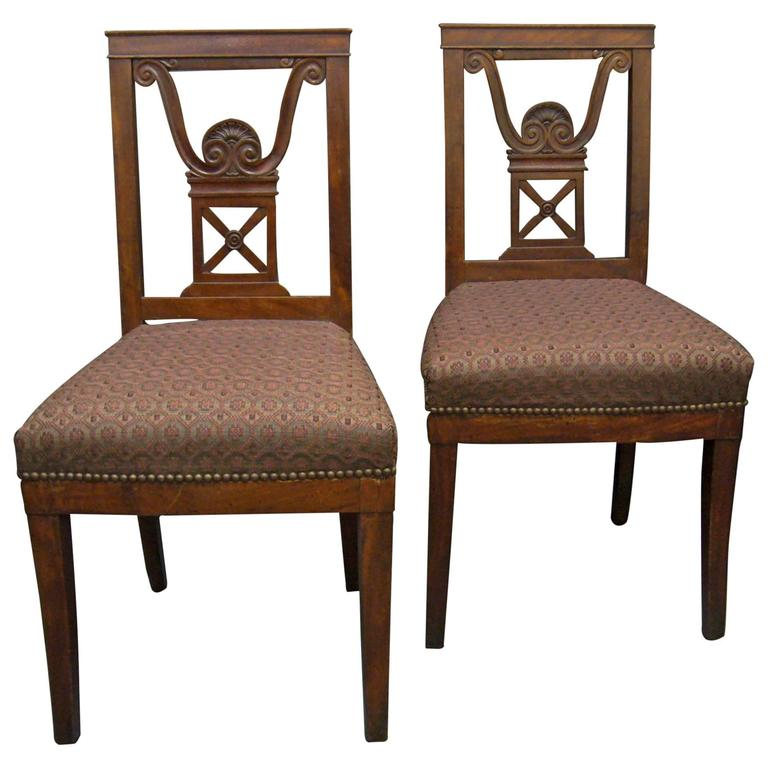 Pair of Neoclassical Jansen Side Chairs For Sale