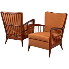 Pair of Sculptural Paolo Buffa Armchairs, circa 1940
