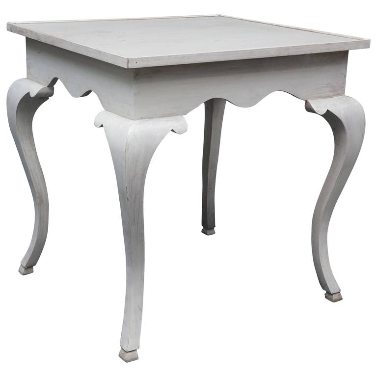 Queen Anne Style Tray Top Table In White For