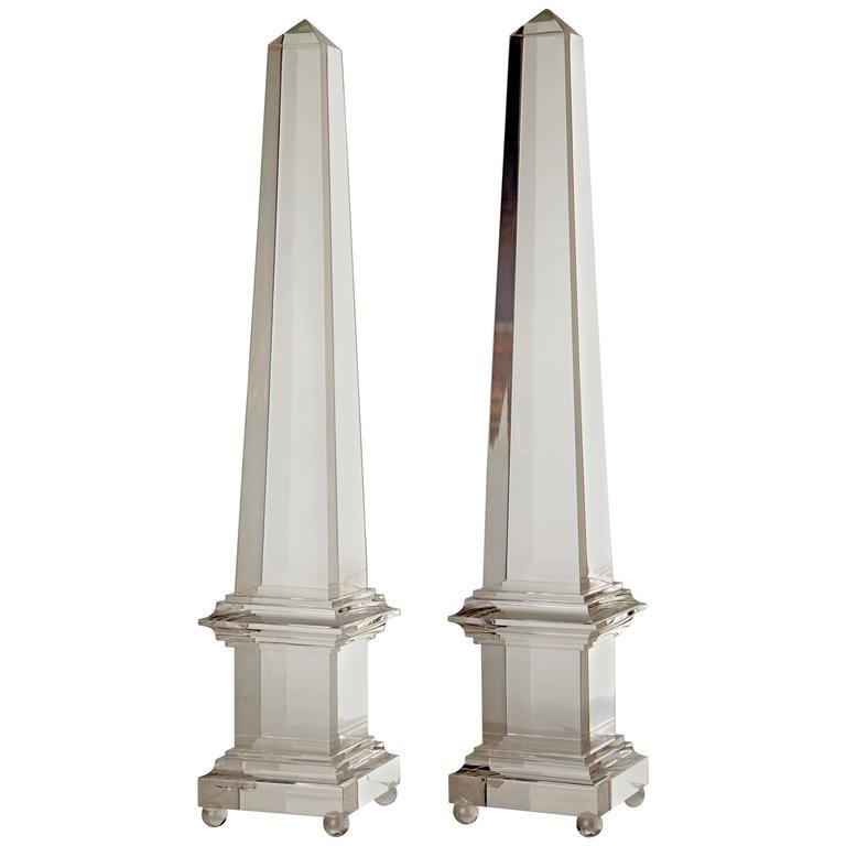 Pair of Large Lucite Obelisks