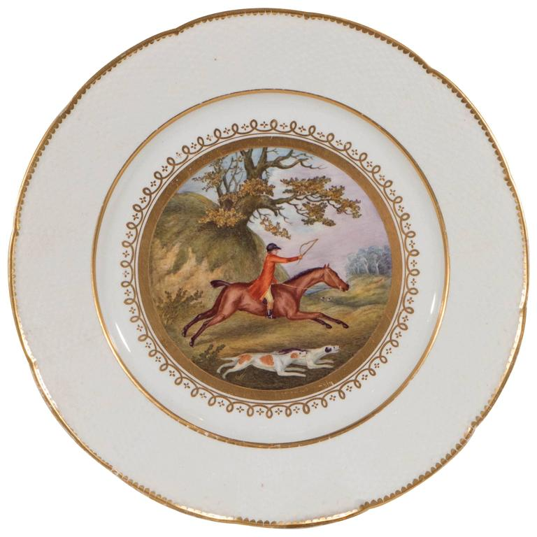Set of Six Hand-Painted Fox Hunt Plates For Sale at 1stdibs