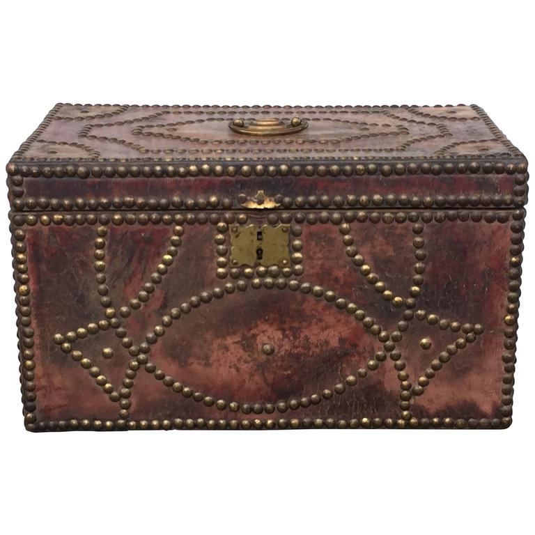 19th Century Small Leather Tacked Box