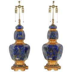 Exquisite Pair of Large Italian Ceramic Lamps with a Lapis Glazed Finish
