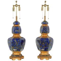 Exquisite Pair of Large Ceramic Lamps