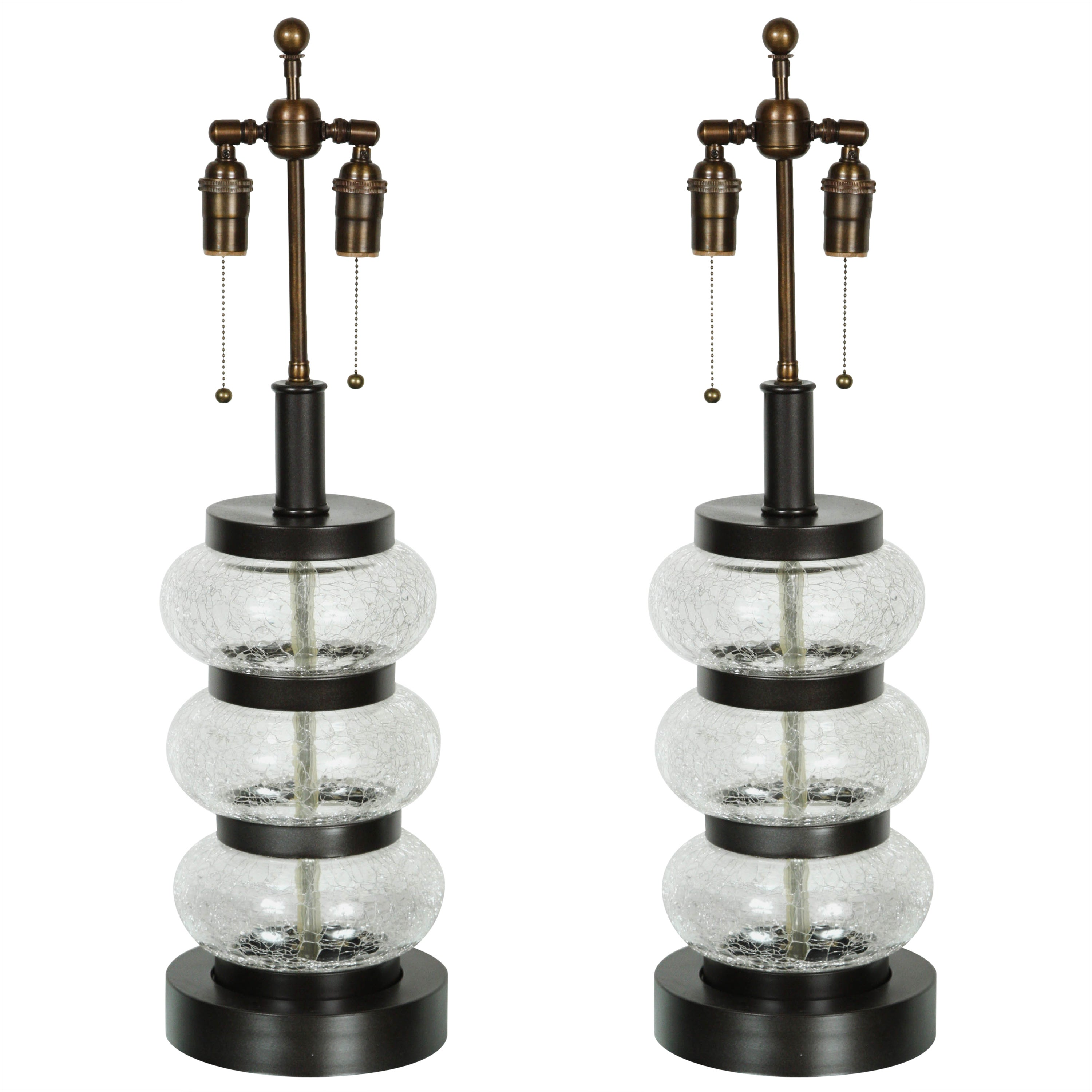 Pair of Crackled Glass Lamps by Paul Hanson