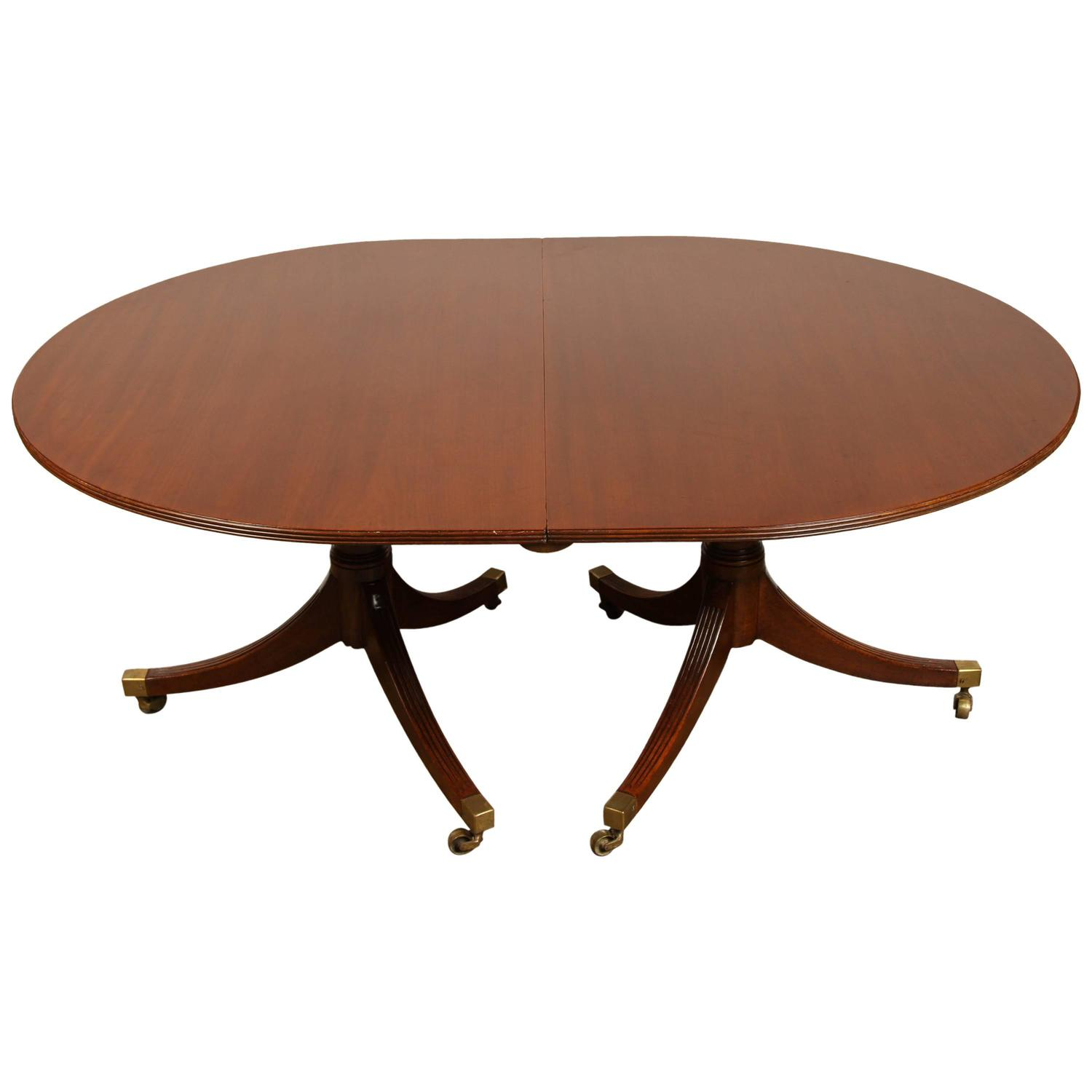 Double Pedestal English Regency Mahogany Dining Table For Sale At 1stdibs