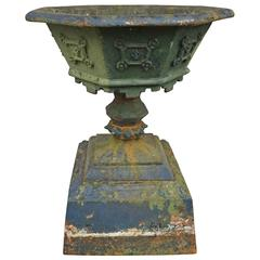 Single Cast Iron Urn with Octagonal Shape Top, Late 19th Century