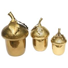 Hand-Wrought Italian Brass Canister Serving Set