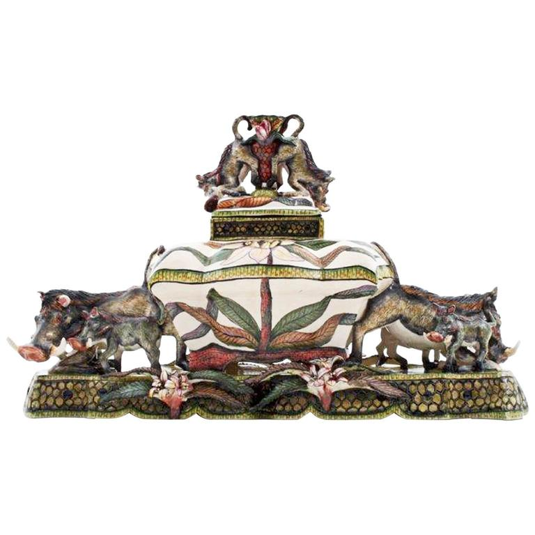 Warthog Tureen Centrepiece Ceramic Sculpture from Ardmore, South Africa For Sale