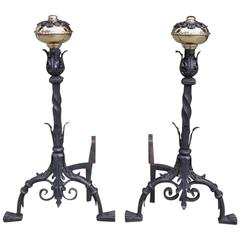 Pair of Italian Brass and Wrought Iron Floral Andirions, Circa 1810
