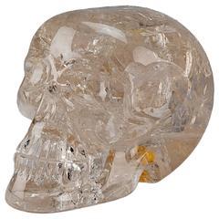 Hand-Carved Rock Crystal Skull in Quartz