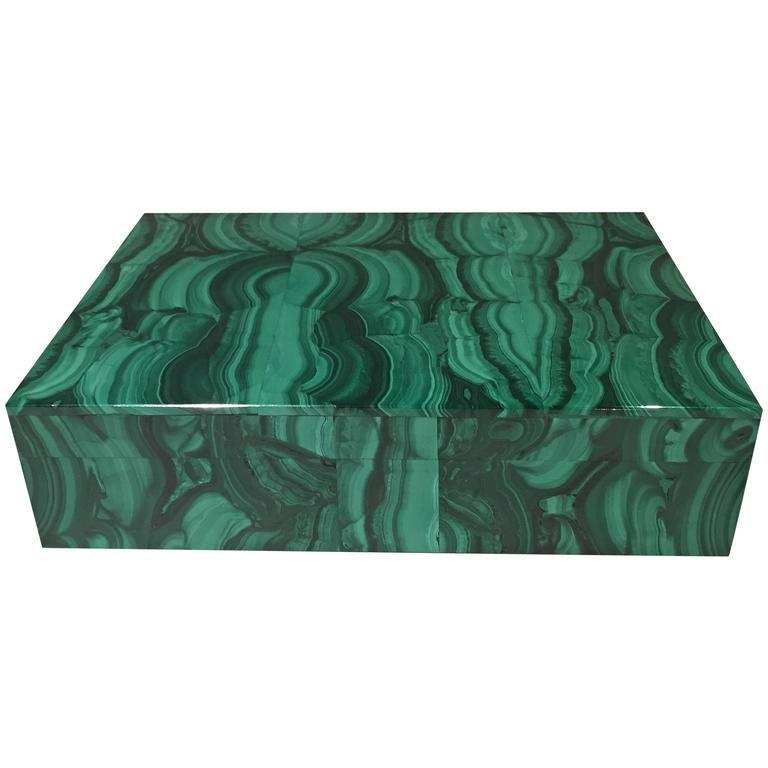 Malachite Box with Hinged Lid For Sale