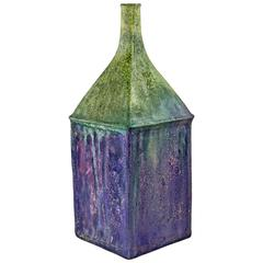 Fantoni Raymor Ceramic Vase, Purple Green Pottery Signed Italy 1960's