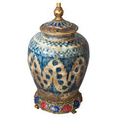 E.F Caldwell Persian Pottery and Enamelled Bronze Zodiac Lamp