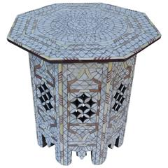 White Mother-of-Pearl Inlay Side Table Tabouret Moorish