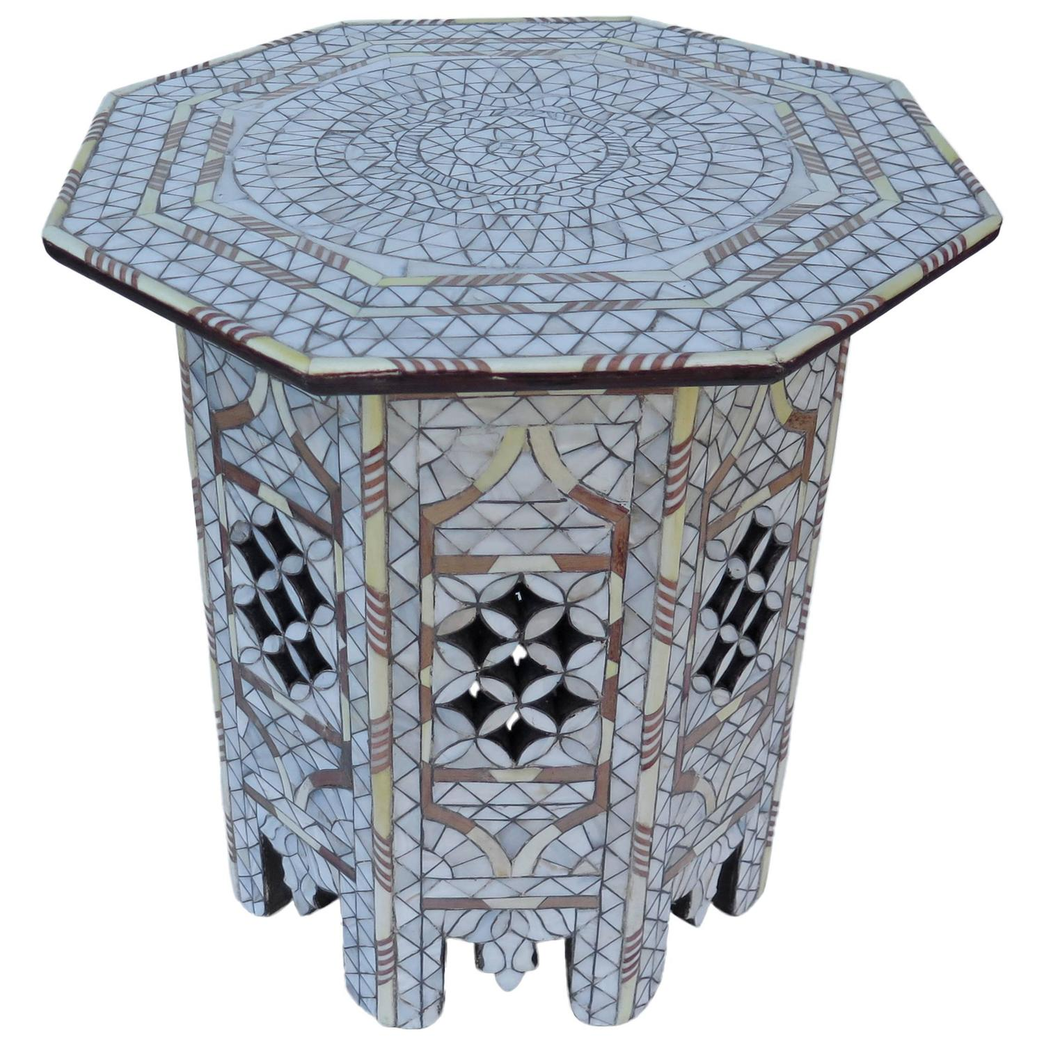 White Mother Of Pearl Inlay Side Table Tabouret Moorish For Sale At 1stdibs