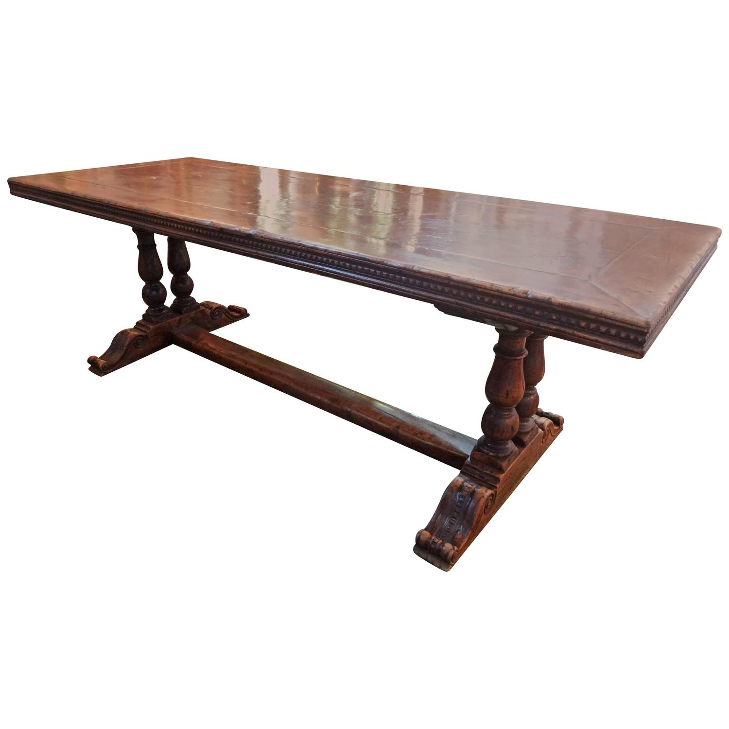Antique french walnut trestle dining table for sale at 1stdibs Trestle dining table