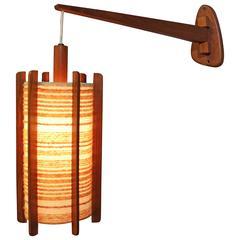 Adjustable Teak Wall Light, Mid-Century Modern
