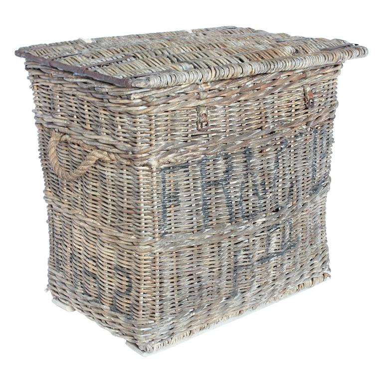 Large tall wicker baskets : Large antique travel wicker basket trunk at stdibs