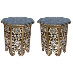 Pair of Moorish Mother-of-Pearl Inlay Side Tables