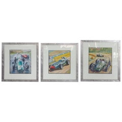 Set of Three 1960s Themed Race Car Paintings