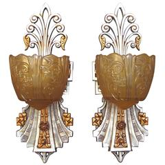 Five Very Deco Vintage Wall Sconces by Lincoln, circa 1930