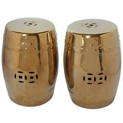 Mid-Century Chinese Garden Porcelain Stools or Drum Tables