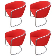 Set of Four Cantilevered Chrome Armchairs by A. Lorenz & J. Burgasser for Thonet