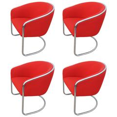 Set of Four Cantilevered Chrome Armchairs by Thonet