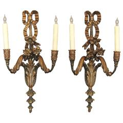 Pair of Early 20th C Italian Carved Wood Sconces