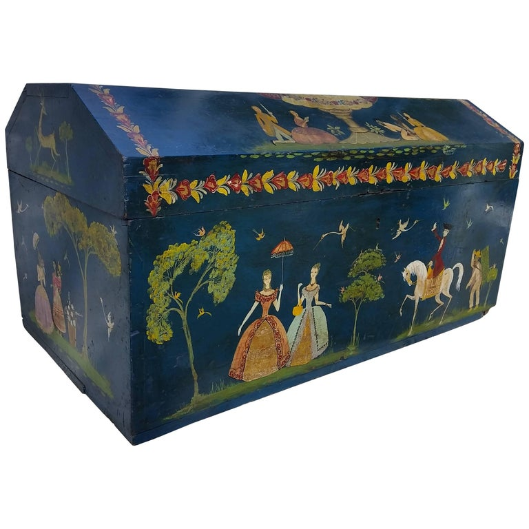 Salvador Corona Painted Blanket Chest, Mexico, circa 1940 For Sale