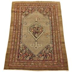 Persian Hamadan Camel Hair Oriental Rug, in Small Size, with Soft Earth Tones