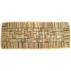 Vintage American Hooked Rug, in Small Size, with Mosaic Design on an Ivory Field