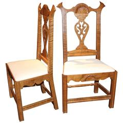 Pair of Exceptional Donald Dunlap Tiger Maple Carved Side Chairs