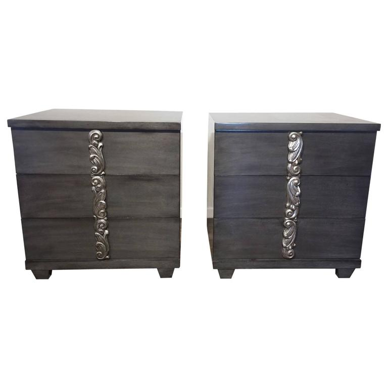 Pair of Magnificent Art Deco Charcoal Grey Cabinets by Grosfeld House
