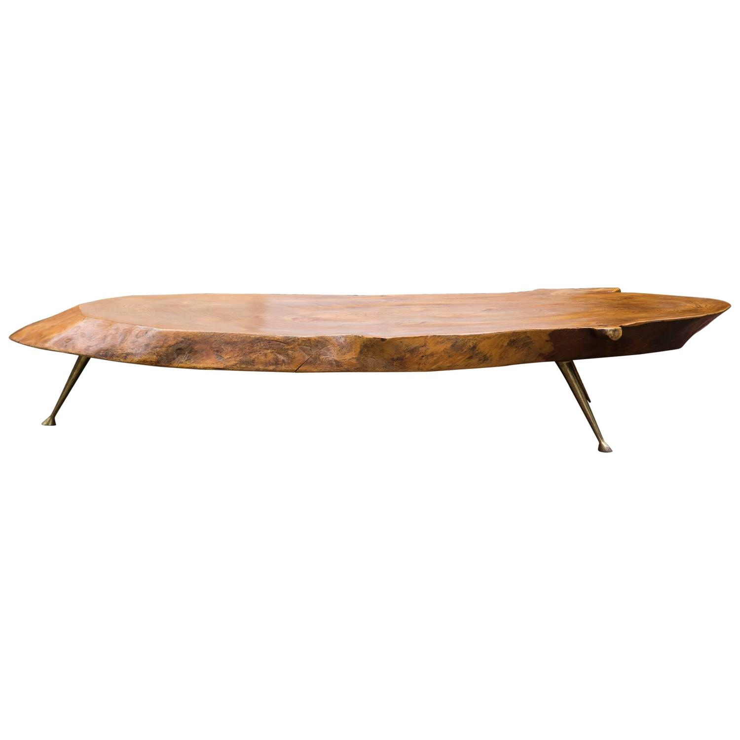 Tree trunk coffee table nakashima style at 1stdibs Trunk coffee tables