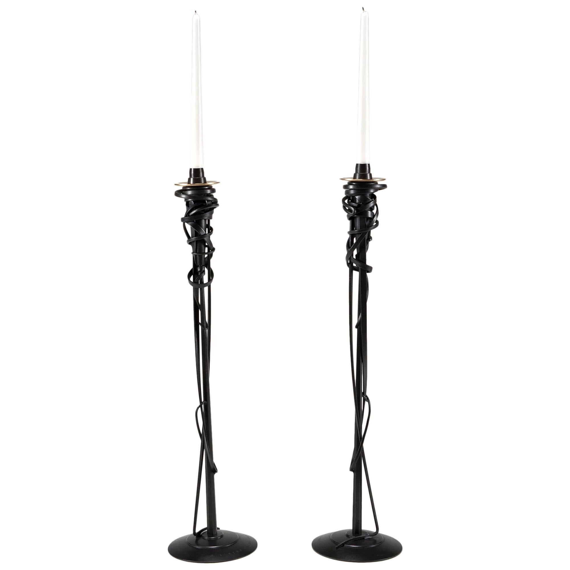 """""""Tall Candleholders"""" in forged and fabricated steel by Albert Paley"""