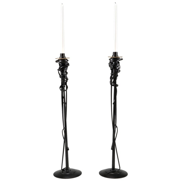 """Tall Candleholders"" in forged and fabricated steel by Albert Paley For Sale"