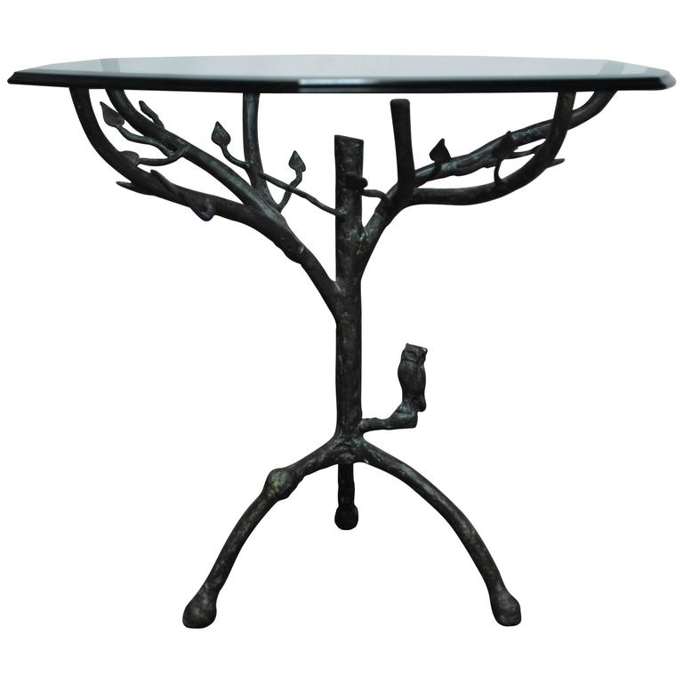 Giacometti inspired tree pedestal table for sale at 1stdibs
