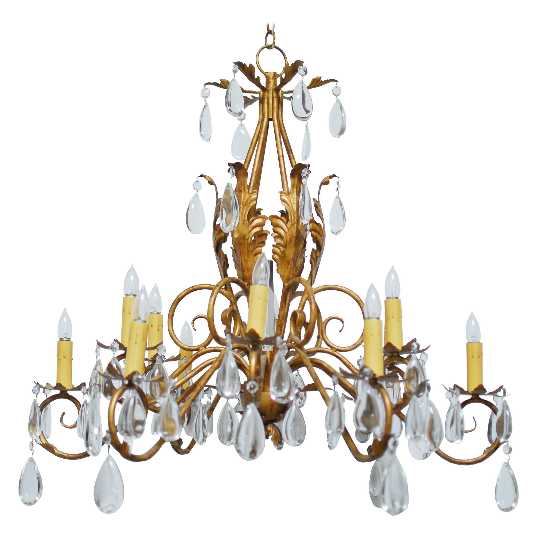 Louis XV Style Twelve-Light Teardrop Chandelier