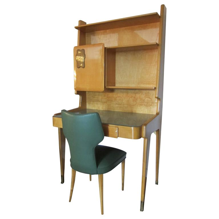 Italian 1950s Gio Ponti Style Upright Desk with Chair. 1