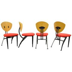 Set of 4 Steel & Maple Memphis Style Dining Chairs by Nia - Made in Israel