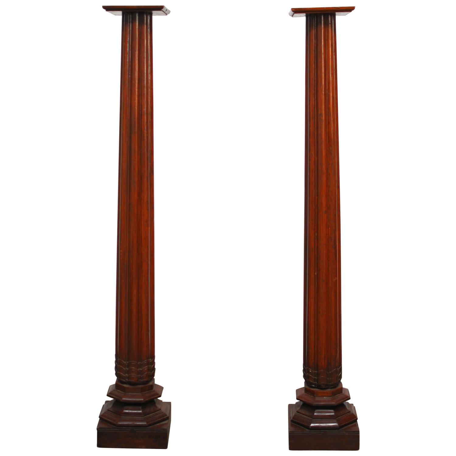 Anglo indian teak wood architectural columns at 1stdibs for Architectural wood columns