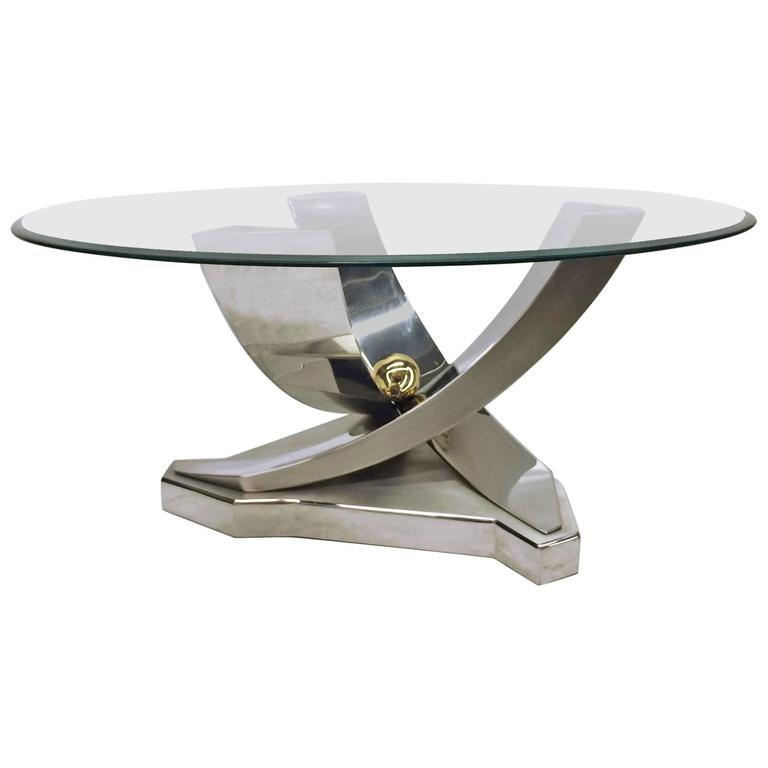 Mix Of Polished Chrome, Brass And Brushed Stainless Steel Coffee Table For  Sale