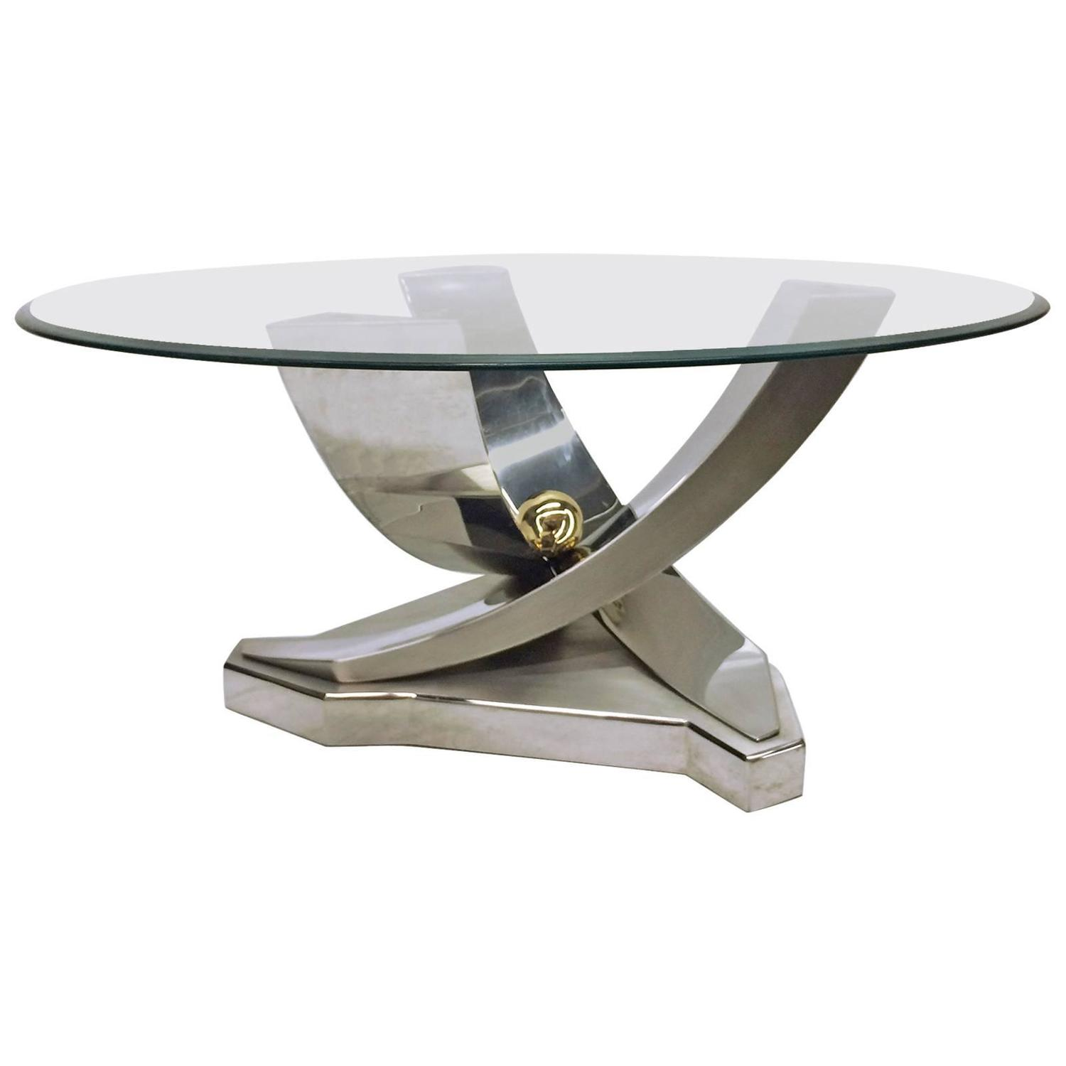 Mix Of Polished Chrome Brass And Brushed Stainless Steel Coffee Table For Sale At 1stdibs