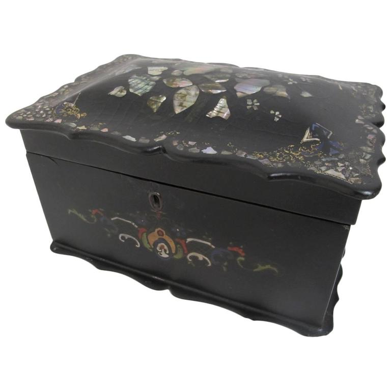 19th Century English Papier Mâché Tea Caddy For Sale